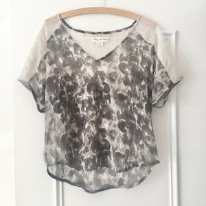 UO Staring at Stars grey floral lace top L